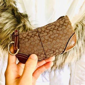 COACH⚡️Cs Leather Trim Key Fob Mini Coin Pouch